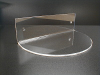 Clear Acrylic and Lucite wall mounting display shelves.